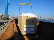Transport multimodal auto/maritim utilaje industriale Buzau–Moistaganem, Algeria